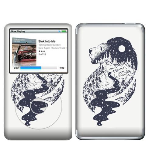 Наклейка на iPod&MP3 Apple iPod Classic Таинственный лев,  купить в Москве – интернет-магазин Allskins, лев, зодиак, лес, татту, ночь, луна, звезда, горы, река