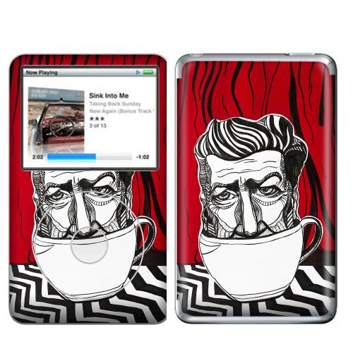 Наклейка на iPod&MP3 Apple iPod Classic Кофе с Линчем,  купить в Москве – интернет-магазин Allskins, кино, лицо, чай и кофе, сова, Твин_Пикс, твинпикс, Дэвид, линч