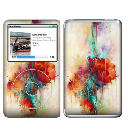 Наклейка на iPod&MP3 Apple iPod Classic Абстракция акварельная,  купить в Москве – интернет-магазин Allskins, мак, акварель, фантазия, цветы, цвет, брызги, клякса, весна, рисунки