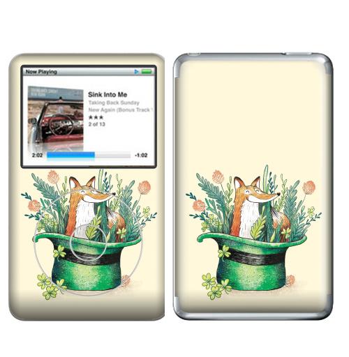 Наклейка на iPod&MP3 Apple iPod Classic Ирландский лис,  купить в Москве – интернет-магазин Allskins, лиса, Ирландия, клевер, шляпа