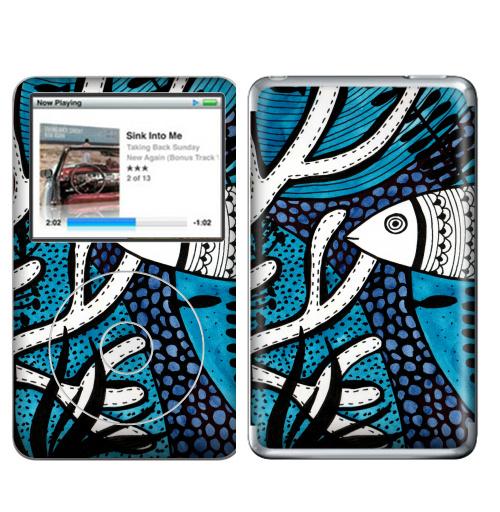 Наклейка на iPod&MP3 Apple iPod Classic На морской глубине,  купить в Москве – интернет-магазин Allskins, акварель, глубина, водоросли, рыба, морская