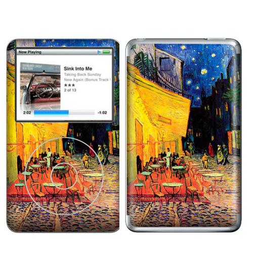 Наклейка на iPod&MP3 Apple iPod Classic Ночная террасса кафе. Ван Гог,  купить в Москве – интернет-магазин Allskins, позитив, жизнерадостный, Ночнаятеррасса, Ван Гог, живописный, желтый, синий, красный, живопись, художник, художественный, мазки, кафе, ночь, плакат