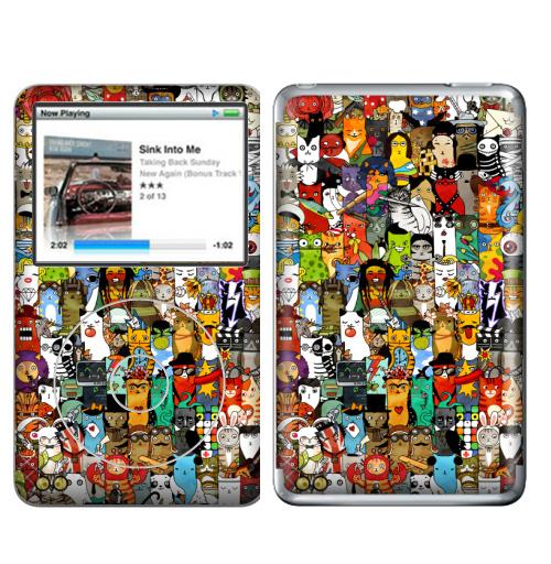 Наклейка на iPod&MP3 Apple iPod Classic Паттерн. Великие ученые, музыканты, художники, актеры в виде котов.,  купить в Москве – интернет-магазин Allskins, военные, сказки, художник, сова, битлз, физика, кино, книга, наука, кошка