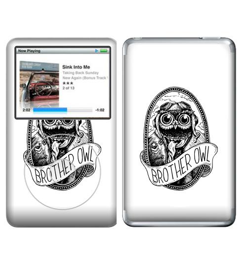 Наклейка на iPod&MP3 Apple iPod Classic Брат Сова,  купить в Москве – интернет-магазин Allskins, графика, брат, братишки, сова, самолет