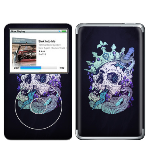 Наклейка на iPod&MP3 Apple iPod Classic Виват,  купить в Москве – интернет-магазин Allskins, череп, корона, смерть, готика, готический, змея, оружие, кости, грибы, яркий