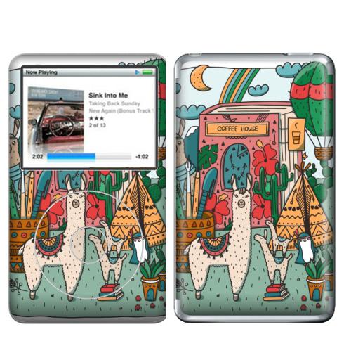 Наклейка на iPod&MP3 Apple iPod Classic Лама в стране книг,  купить в Москве – интернет-магазин Allskins, лама, дудлы, книга, пингвин, воздушныйшар, вигвам, бохо, кактусы, собаки