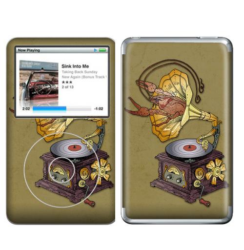 Наклейка на iPod&MP3 Apple iPod Classic Граммофон с лобстером.,  купить в Москве – интернет-магазин Allskins, прикол, Рак, животные, стимпанк, графика, ретро, ретрофутуризм, винтаж, механизм, музыка