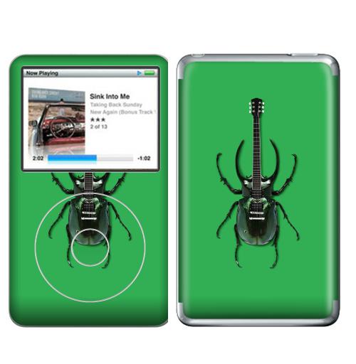 Наклейка на iPod&MP3 Apple iPod Classic Музыка насекомых,  купить в Москве – интернет-магазин Allskins, жук, насекомые, гитара, зеленый, музыка, природа, поп-арт, сюрреализм