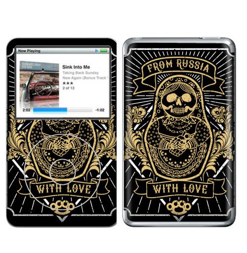 Наклейка на iPod&MP3 Apple iPod Classic Матрешка с гранатой,  купить в Москве – интернет-магазин Allskins, хулиган, матрёшка, взрыв, надписи, узор, кастет, Россия