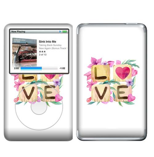 Наклейка на iPod&MP3 Apple iPod Classic Любовь в квадрате,  купить в Москве – интернет-магазин Allskins, иллюстация, акварель, розовый, охра, сердце, любовь, день_святого_валентина
