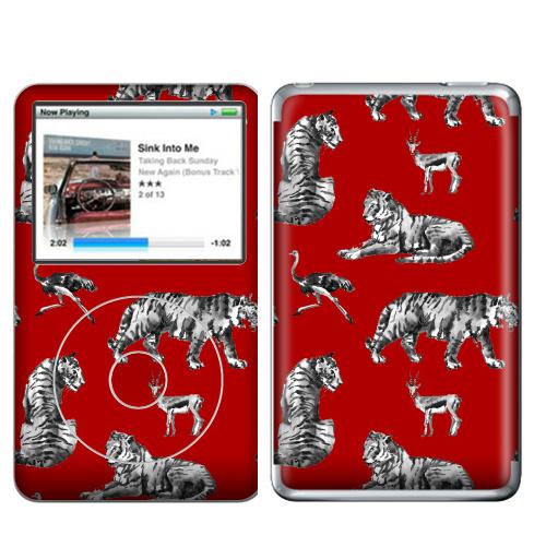 Наклейка на iPod&MP3 Apple iPod Classic Тигры на красном,  купить в Москве – интернет-магазин Allskins, зверушки, африка, Саванна, антилопа, дикая, природа, фауна, хищник, добыча