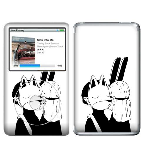 Наклейка на iPod&MP3 Apple iPod Classic Лис и зайка,  купить в Москве – интернет-магазин Allskins, черное и белое, заяц, лиса, любовь