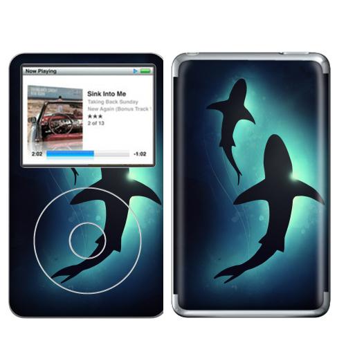 Наклейка на iPod&MP3 Apple iPod Classic Черные акулы,  купить в Москве – интернет-магазин Allskins, брызги, акварель, иллюстация, паттерн, солнце, вода, оекан, морская, рыба, акула