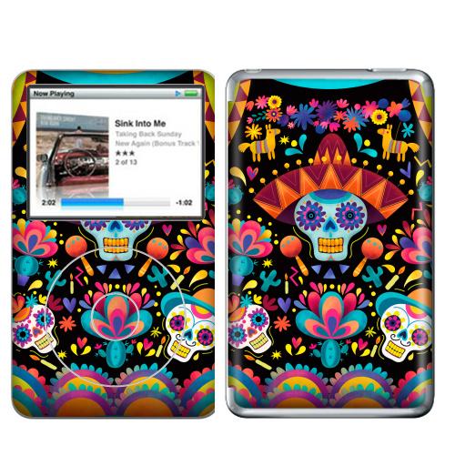 Наклейка на iPod&MP3 Apple iPod Classic Диа де лос муэртос,  купить в Москве – интернет-магазин Allskins, узор, череп, пикник, яркий, Мексика, маракасы, цветы, кактусы