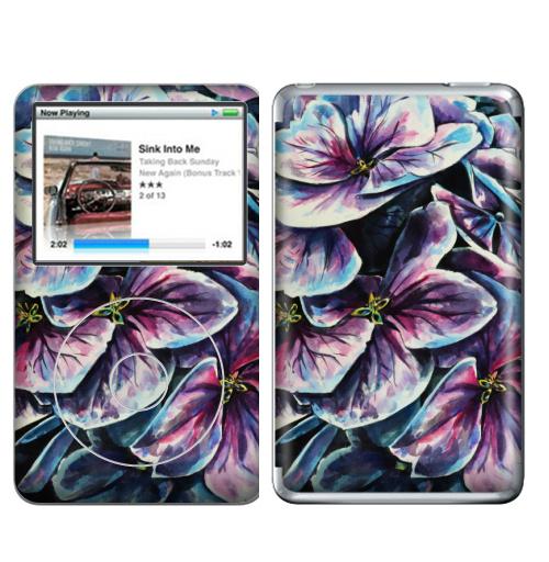 Наклейка на iPod&MP3 Apple iPod Classic Фиолетовые цветы,  купить в Москве – интернет-магазин Allskins, фиолетовый, акварель, цветокакварель, цветы