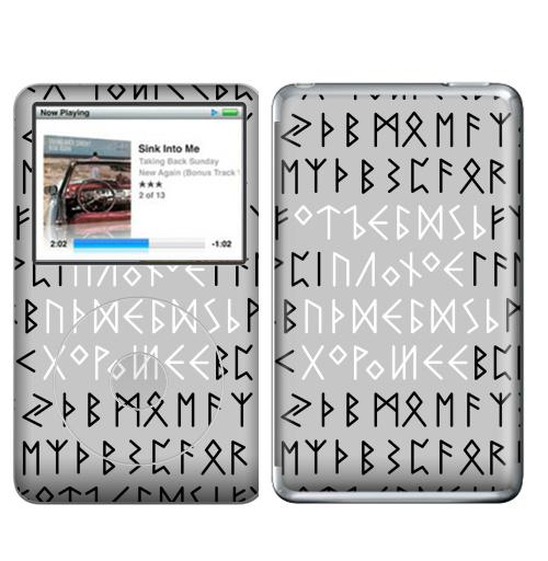 Наклейка на iPod&MP3 Apple iPod Classic Руны,  купить в Москве – интернет-магазин Allskins, продажи_надписи, черно-белое, этно, магия, надписи, хуй, прикольные_надписи, остроумно, крутые надписи, 300 Лучших работ