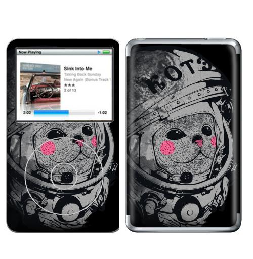 Наклейка на iPod&MP3 Apple iPod Classic Котэ-космонафтэ,  купить в Москве – интернет-магазин Allskins, продажи_надписи, черный, космос, кошка, шлем, Юра, астронавт, 8 марта, детские, Гагарин, космокот, 300 Лучших работ, милые животные