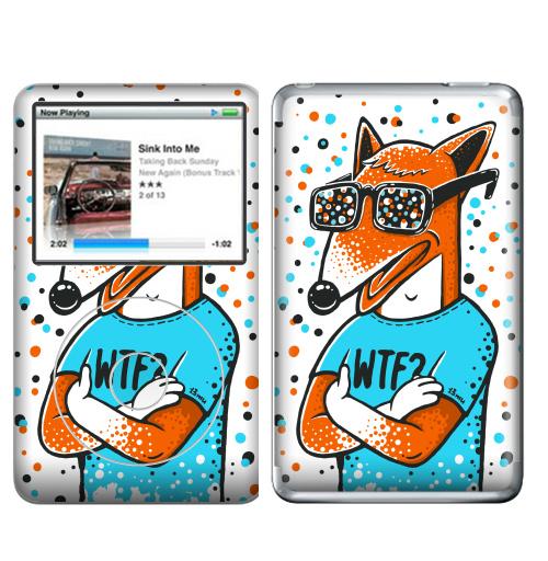 Наклейка на iPod&MP3 Apple iPod Classic WTF?,  купить в Москве – интернет-магазин Allskins, голубой, конфетти, очки, лиса, животные, хуй, оранжевый