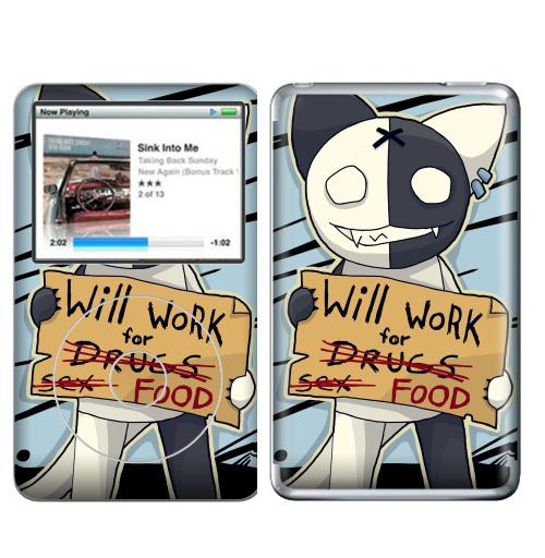 Наклейка на iPod&MP3 Apple iPod Classic Will work for...,  купить в Москве – интернет-магазин Allskins, english, работа, кошка, надписи