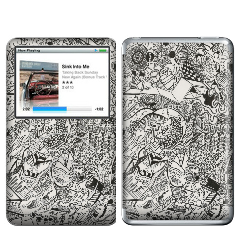 Наклейка на iPod&MP3 Apple iPod Classic Игры разума 2,  купить в Москве – интернет-магазин Allskins, человек, земля, паттерн, пианино, сумашествие