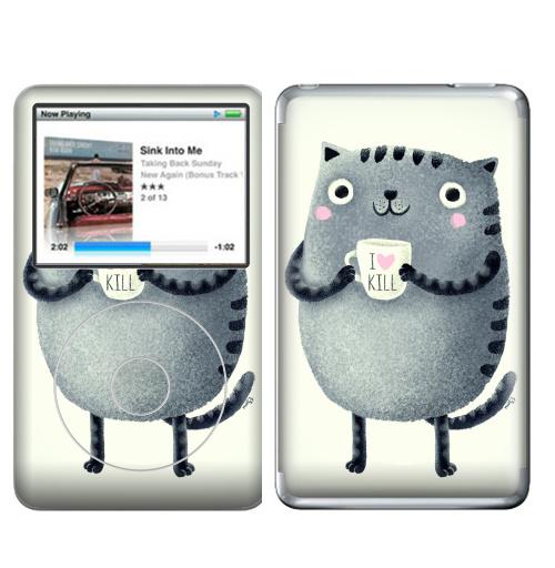 Наклейка на iPod&MP3 Apple iPod Classic Кот I♥kill,  купить в Москве – интернет-магазин Allskins, розовый, новый год, любовь, кошка, убийство, уют, чай и кофе, серый, детские
