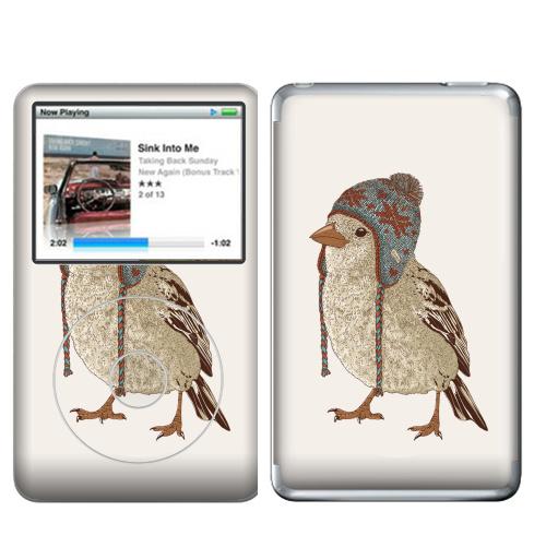 Наклейка на iPod&MP3 Apple iPod Classic Птица в шапке,  купить в Москве – интернет-магазин Allskins, 300 Лучших работ, пипстер, шапка, птицы, зима, новый год, коричневый, крутые животные