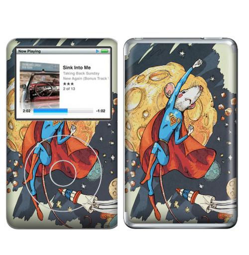 Наклейка на iPod&MP3 Apple iPod Classic СуперМышь,  купить в Москве – интернет-магазин Allskins, летучая мышь, супермен, комиксы, космос, животные, мышь