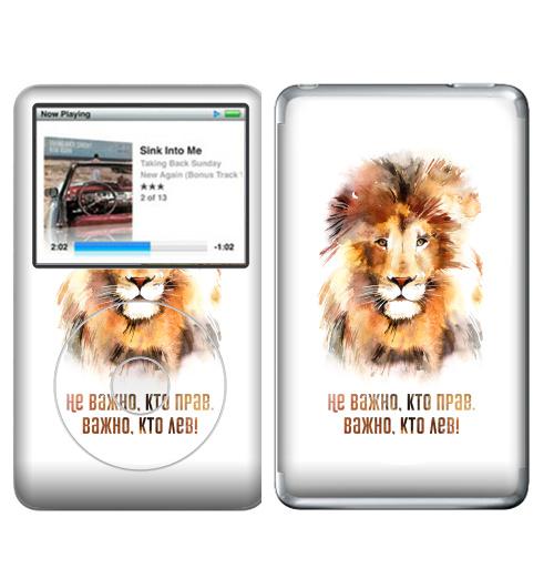 Наклейка на iPod&MP3 Apple iPod Classic Важно, кто лев, тот прав!,  купить в Москве – интернет-магазин Allskins, Россия, права, право, король, надписи, лев