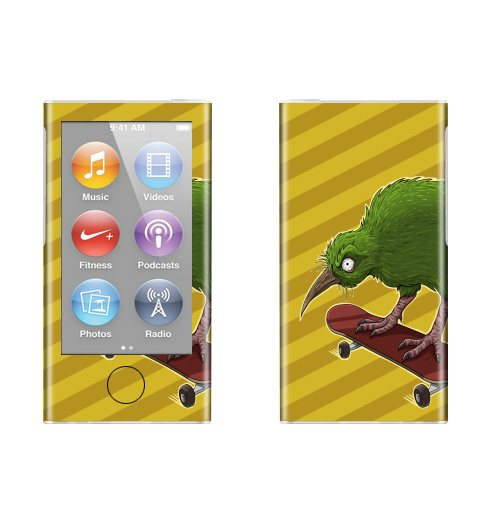 Наклейка на iPod&MP3 Apple iPod nano  7th gen. Киви,  купить в Москве – интернет-магазин Allskins, птицы, скейтборд