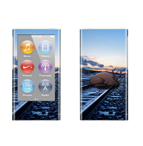 Наклейка на iPod&MP3 Apple iPod nano  7th gen. Уставший,  купить в Москве – интернет-магазин Allskins, олень, чувства, дорога, фотография