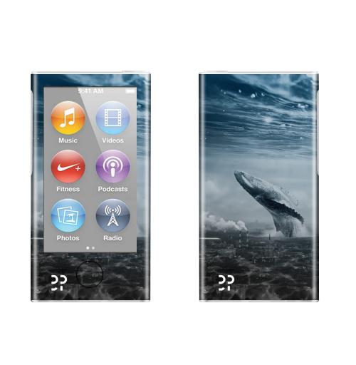 Наклейка на iPod&MP3 Apple iPod nano  7th gen. Кит в мегаполисе,  купить в Москве – интернет-магазин Allskins, мегаполис, киты, эвентумпремо, футуризм, будущее