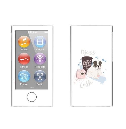 Наклейка на iPod&MP3 Apple iPod nano  7th gen. Джаз Кофе,  купить в Москве – интернет-магазин Allskins, бульдог, чай и кофе, фотография, джаз, любовь, собаки