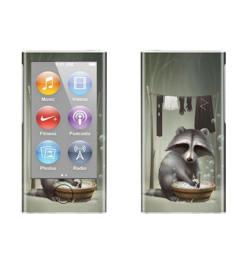 Наклейка на iPod&MP3 Apple iPod nano  7th gen. Енот полоскун,  купить в Москве – интернет-магазин Allskins, енот, стирка, мыльный, пузырьки, лес, животные, прикол