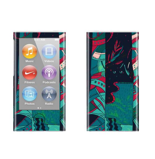 Наклейка на iPod&MP3 Apple iPod nano  7th gen. Лес фантазий,  купить в Москве – интернет-магазин Allskins, стильно, контрастный, клубная, природа, глаз, Темная, бирюзовый, яркий, деревья, лес