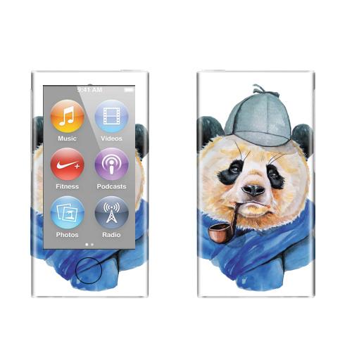 Наклейка на iPod&MP3 Apple iPod nano  7th gen. Шерлок Панда Холмс,  купить в Москве – интернет-магазин Allskins, панда, панды, трубка, шляпа, животные