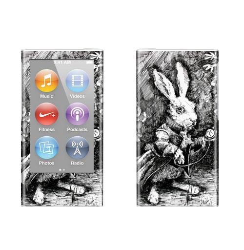Наклейка на iPod&MP3 Apple iPod nano  7th gen. Заяц из алисы в стране чудес,  купить в Москве – интернет-магазин Allskins, иллюстация, заяц, животные, Подарок, графика