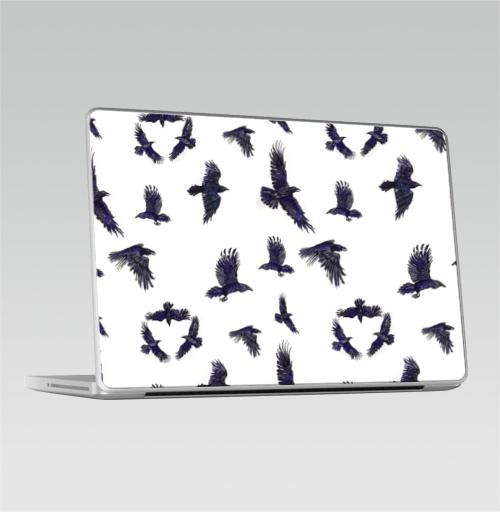 Наклейка на Ноутбук Macbook Pro 2008-2013 – Macbook Pro Стая воронов,  купить в Москве – интернет-магазин Allskins, ворона, птицы, Крылья, готика, бесшовный, акварель