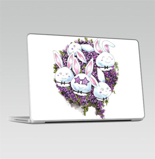 Наклейка на Ноутбук Macbook Pro 2008-2013 – Macbook Pro Позитивные зайчики,  купить в Москве – интернет-магазин Allskins, милые животные, акварель, животные, прикольные_рисунки, цветы, букет, заяц, зайчонок, рокнролл, фиолетовый