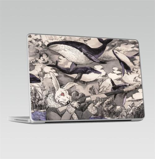 Наклейка на Ноутбук Macbook Pro 2008-2013 – Macbook Pro Разлетались тут,  купить в Москве – интернет-магазин Allskins, дед, злой_кролик, заяц, летающие_киты, киты, ружьё