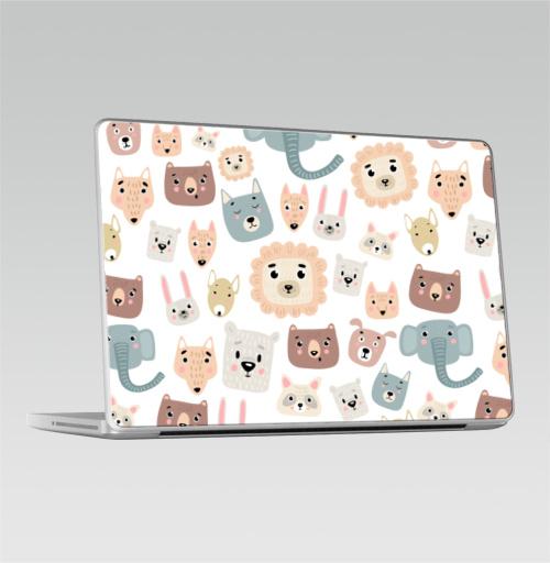 Наклейка на Ноутбук Macbook Pro 2008-2013 – Macbook Pro Зверята,  купить в Москве – интернет-магазин Allskins, лев, слоны, собаки, енот, медведь, детские, питбуль, заяц