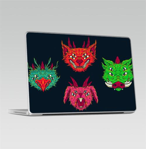 Наклейка на Ноутбук Macbook Pro 2008-2013 – Macbook Pro Мутировавшие питомцы,  купить в Москве – интернет-магазин Allskins, психоделика, монстры, животные, кошка, кислотная, лицо, заяц, персонажи, прикол