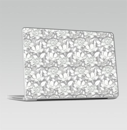 Наклейка на Ноутбук Macbook Pro 2008-2013 – Macbook Pro Паттерн из роз,  купить в Москве – интернет-магазин Allskins, розы, классика, карандаш, монохромный, рисунки, цветы, букет