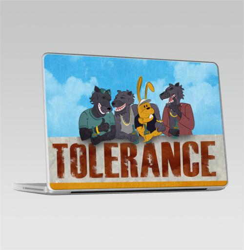 Наклейка на Ноутбук Macbook Pro 2008-2013 – Macbook Pro Толерантность,  купить в Москве – интернет-магазин Allskins, надписи, собаки, дикий, волк, мафия, вечеринка, животные, сарказм, заяц, крутые надписи