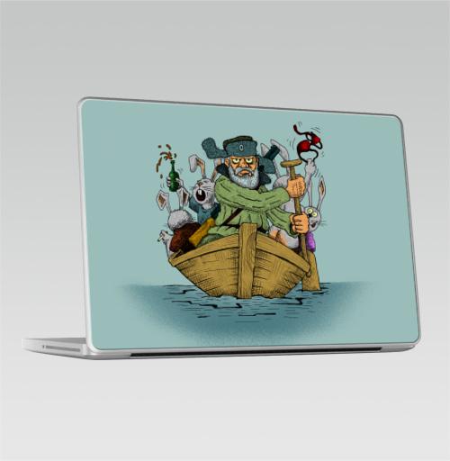 Наклейка на Ноутбук Macbook Pro 2008-2013 – Macbook Pro Дед Мазай,  купить в Москве – интернет-магазин Allskins, прикол, детские, легенда, весна, животные, заяц
