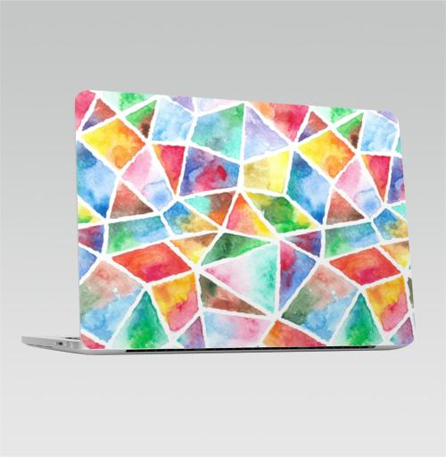Наклейка на Ноутбук Apple Macbook Pro с Touch Bar Акварельная мозаика,  купить в Москве – интернет-магазин Allskins, акварель, мозаика, живопись, яркий, кусочки, текстура