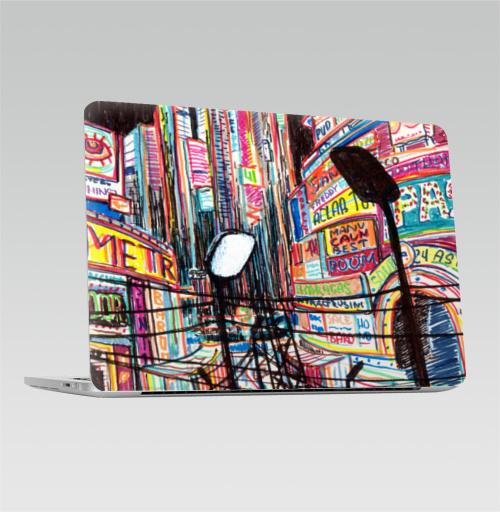 Наклейка на Ноутбук Macbook Pro 2016-2018 – Macbook Pro Touch Bar Ночная жизнь,  купить в Москве – интернет-магазин Allskins, Америка, ночь, Vegas, лас, NY, вывеска, город, жизнь, ночная