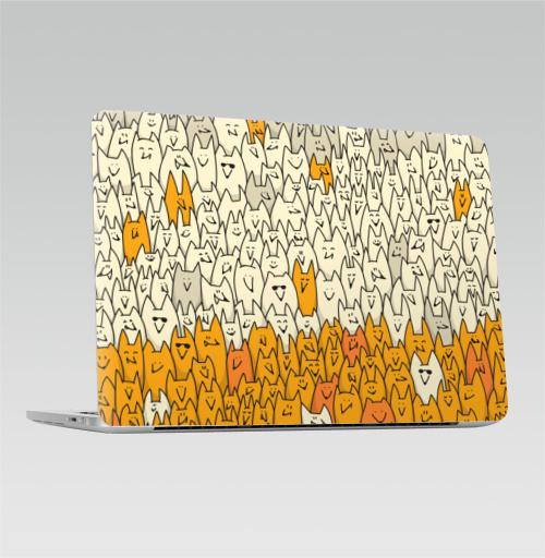 Наклейка на Ноутбук Macbook Pro 2016-2018 – Macbook Pro Touch Bar Лисья семейка,  купить в Москве – интернет-магазин Allskins, милые животные, зверушки, природа, животные, дудлы, паттерн, лиса