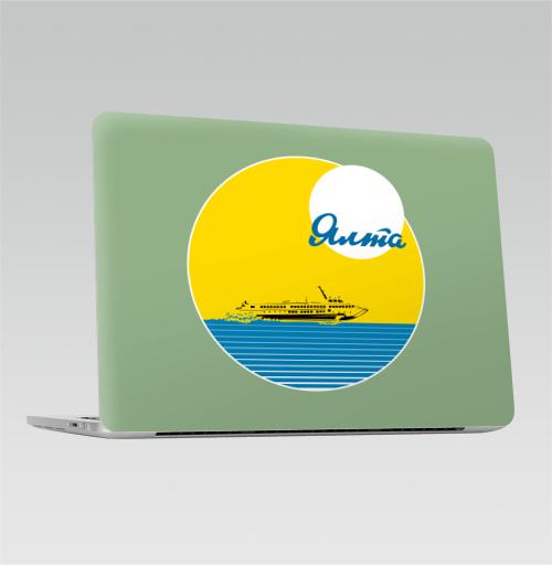 Наклейка на Ноутбук Apple Macbook Pro с Touch Bar Ялта,  купить в Москве – интернет-магазин Allskins, надписи, крым, ялта, СССР, морская, винтаж, ретро