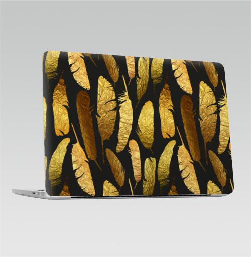Наклейка на Ноутбук Apple Macbook Pro с Touch Bar - Золотые перья -,  купить в Москве – интернет-магазин Allskins, фольга, текстура, золото, черный, перья, контур
