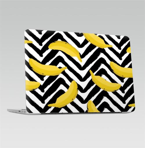 Наклейка на Ноутбук Macbook Pro 2016-2018 – Macbook Pro Touch Bar Желтые бананы,  купить в Москве – интернет-магазин Allskins, мода, лето, зебре, желтые, банан, паттерн, полнаязапечатка, тропики